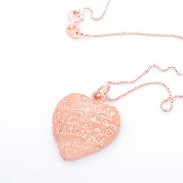 Rose Gold Sterling Silver Small Tiamo Heart Necklace