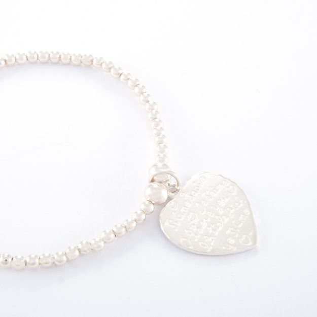 Sterling Silver Small Tiamo Heart Ball Bracelet