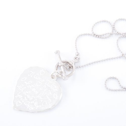 Our Sterling Silver Tiamo Heart Fob Necklace. Shown here beautifully handcrafted and engraved in 925 sterling. In short, this stunning piece is elegant and full of style. The ideal gift idea for someone special. Or as a self-indulgent purchase to add to your own collection.