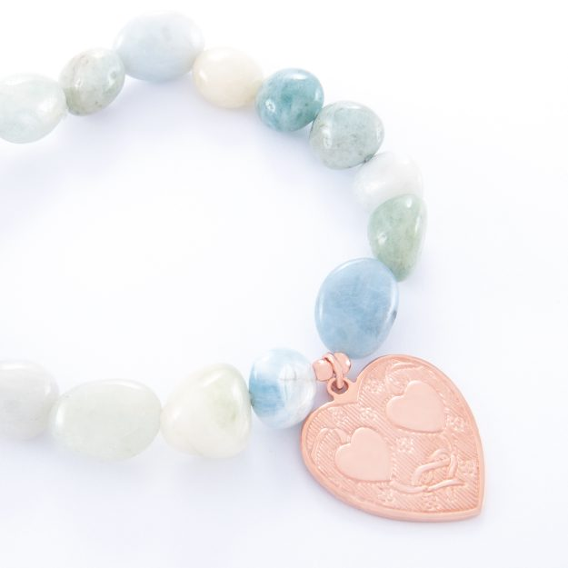 Adventurine Bracelet with Rose Gold Double Heart Charm