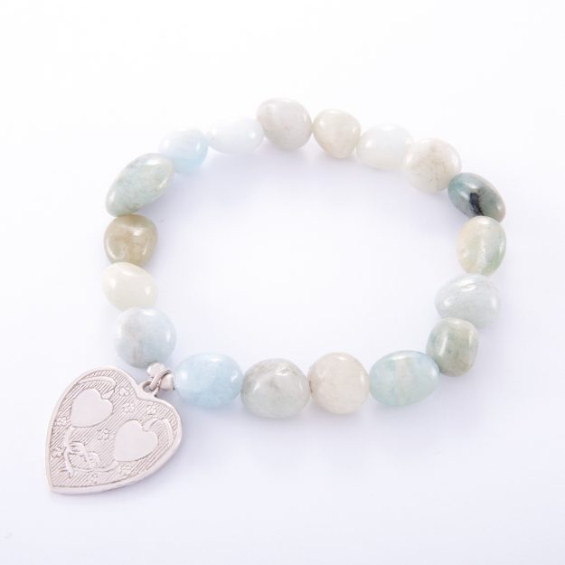Adventurine Bracelet with Sterling Silver Double Heart