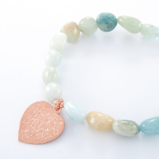 Adventurine Rose Gold Tiamo Heart Bracelet