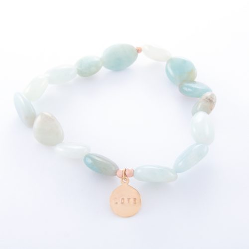 Our Amazonite Bracelet with Small Rose Gold Love Disc. Shown here, with a beautiful stamped love disc. Hand-made in pink gold over authentic 925 sterling. In short, this stunning piece is full of love and style. It's the ideal gift for someone special. Or perfect as a self-indulgent purchase to add to your own jewelry collection.