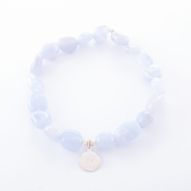 Blue Lace Agate Bracelet with Sterling Silver Love Disc