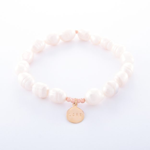 Freshwater Pearl Bracelet with Rose Gold Love Disc
