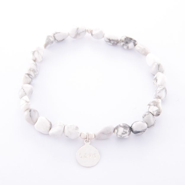 Howlite Bracelet with Sterling Silver Love Disc