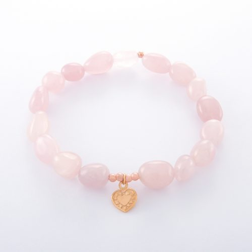 Our Rose Quartz Small Rose Gold Heart Bracelet. Shown here, with a petite hand-made pink gold love heart plated over authentic 925 sterling. In short, this amazing piece is full of beauty and style. It's the ideal self-indulgent purchase to add to your own jewelry collection. Or as the perfect gift for someone special.
