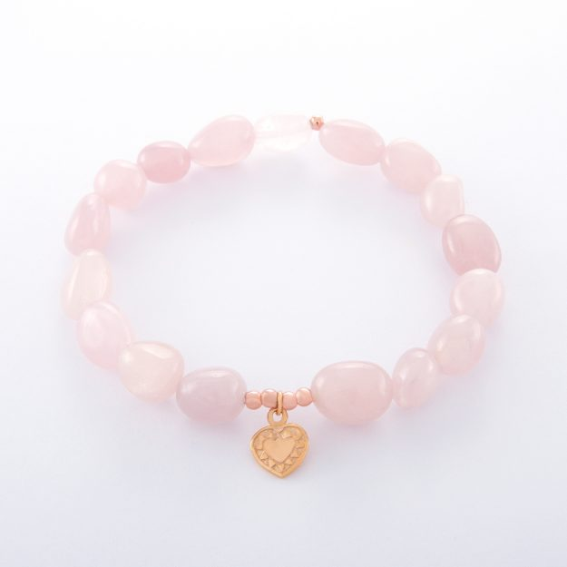 Rose Quartz Small Rose Gold Heart Bracelet