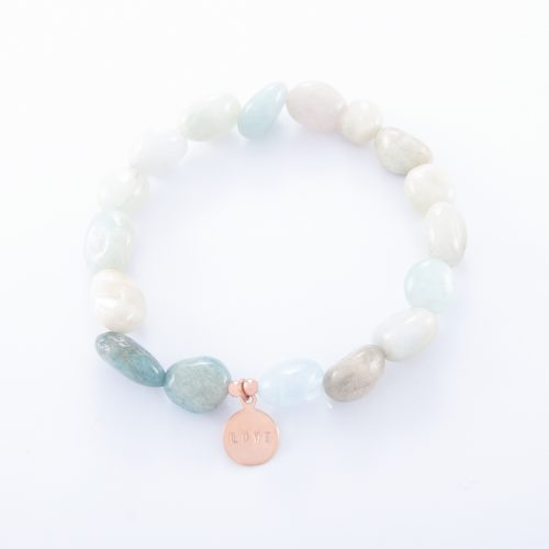 Our Adventurine Bracelet with Rose Gold Love Disc. Shown here, beautifully handcrafted in pink gold over authentic 925 sterling. In short, this stunning piece is full of style. It's the perfect self-indulgent purchase to add to your own jewelry collection. Or makes for the ideal gift for someone special.