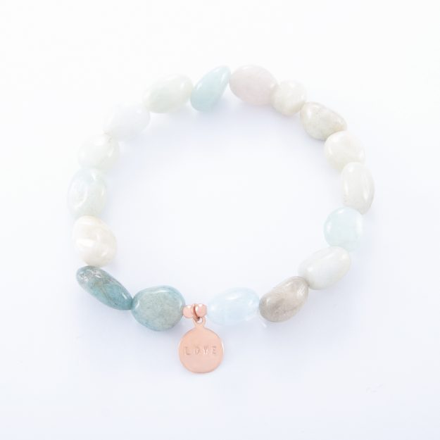 Adventurine Bracelet with Rose Gold Love Disc
