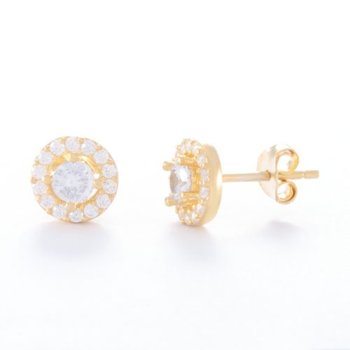 Our Cubic Zirconia Gold Halo Stud Earrings. Shown here, with one large CZ framed by numerous small, sparkling CZ's. Also, beautifully handcrafted in gold over authentic 925 sterling. In short, there's lots of love in this little pair of gems! They are the perfect gift for that special someone. Or as a self-indulgent purchase to add to your own jewelry collection.