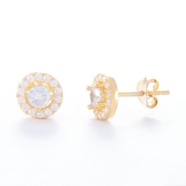 Cubic Zirconia Gold Halo Stud Earrings