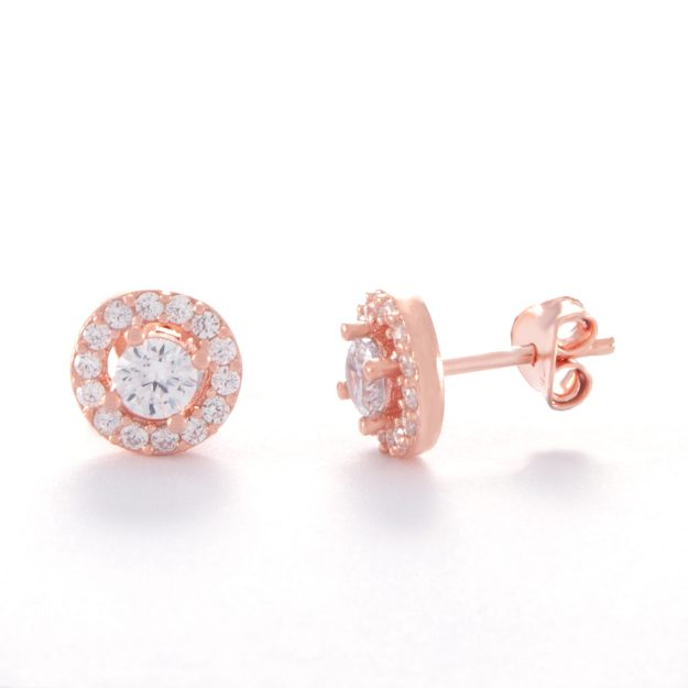 Cubic Zirconia Rose Gold Halo Stud Earrings