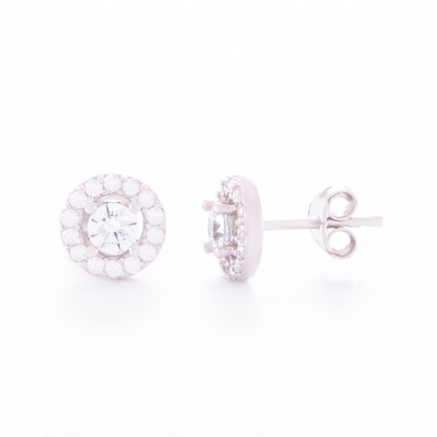 Cubic Zirconia Sterling Silver Halo Stud Earrings