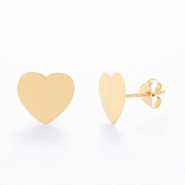 Gold Sterling Silver Sweet Heart Stud Earrings