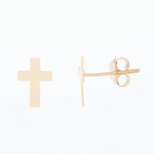 Our Gold Sterling Silver Cross Stud Earrings. Shown here, beautifully handcrafted and plated in gold, over authentic 925 sterling. In short, there's a lot of elegance and style in this cute pair of little gems! The perfect self-indulgent purchase to add to your own jewelry collection. Or as the ideal gift for someone special.