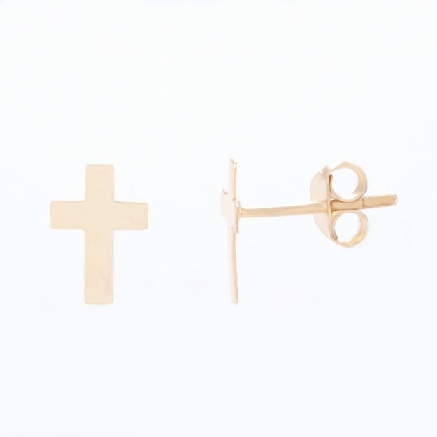 Gold Sterling Silver Cross Stud Earrings