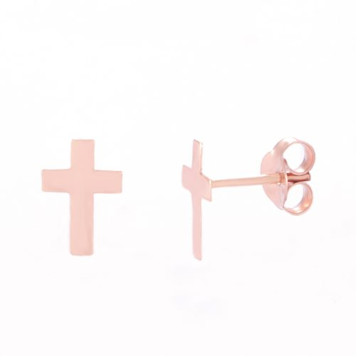 Our Rose Gold Cross Stud Earrings. Shown here, handcrafted and beautifully plated over 925 sterling silver. In short, there's lots of love in this stunning little pair of gems! They are the ideal gift for that extra someone special. Or as a self-indulgent purchase to add to your own jewelry collection.