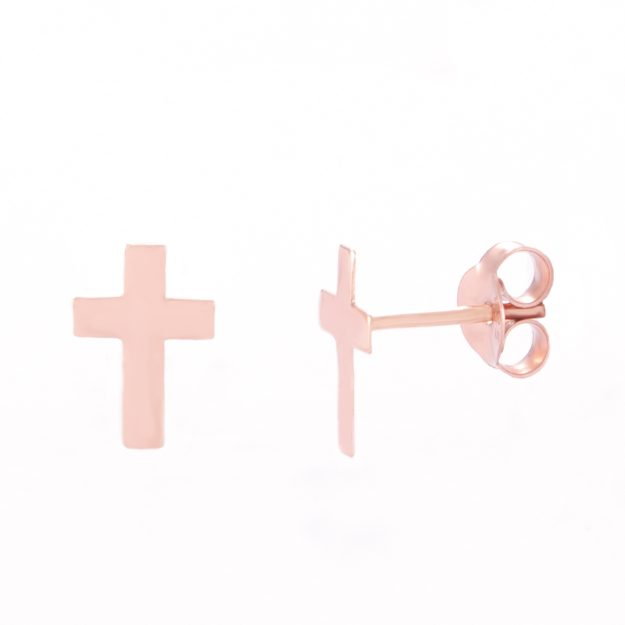 Rose Gold Cross Stud Earrings