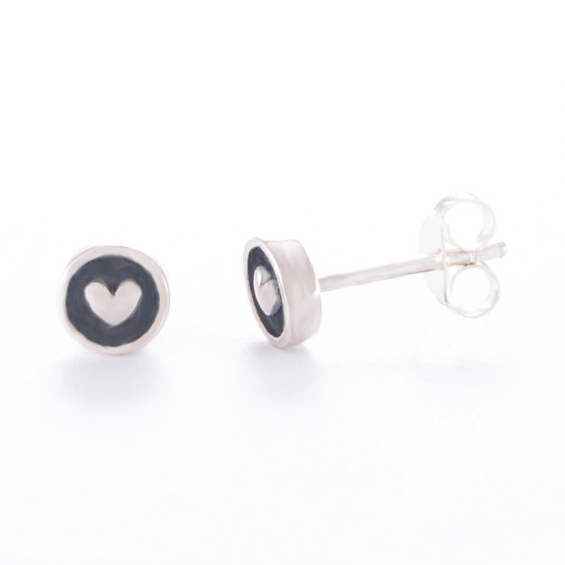 Sterling Silver Embossed Love Heart Stud Earrings