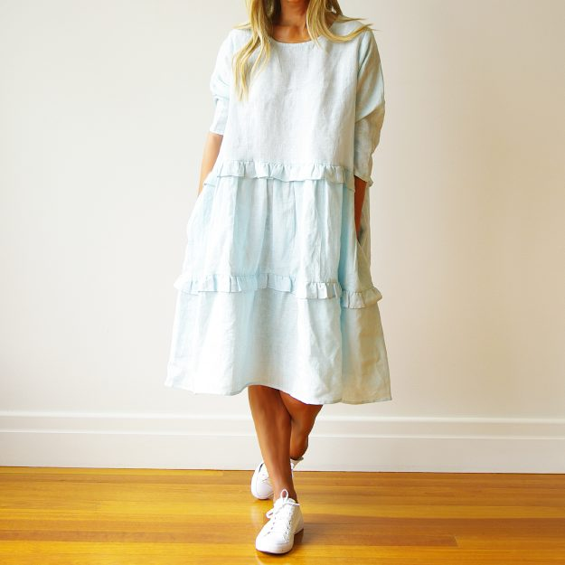 Rosie Long Sleeve Sky Blue Linen Dress