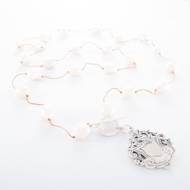 Freshwater Pearl Necklace (Spaced-32-Inch) with Large Sterling Silver Shield