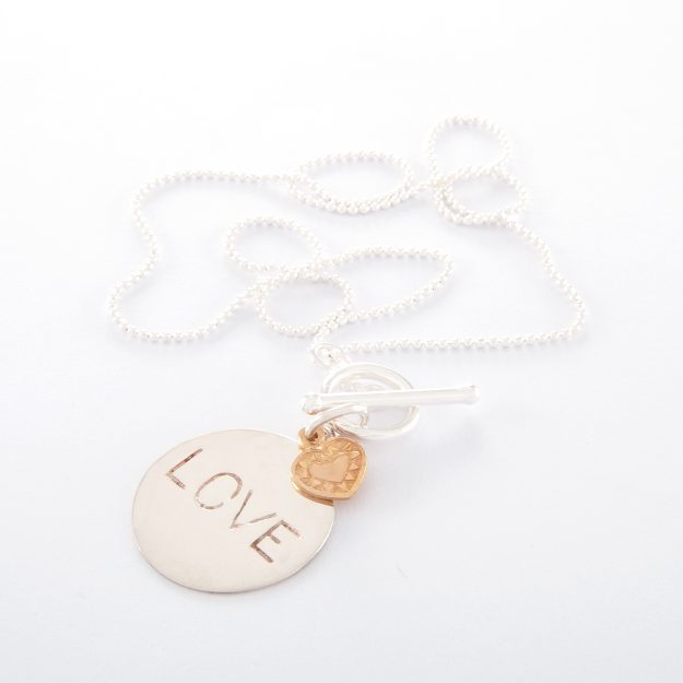 Sterling Silver Ball Chain Love Disc Necklace