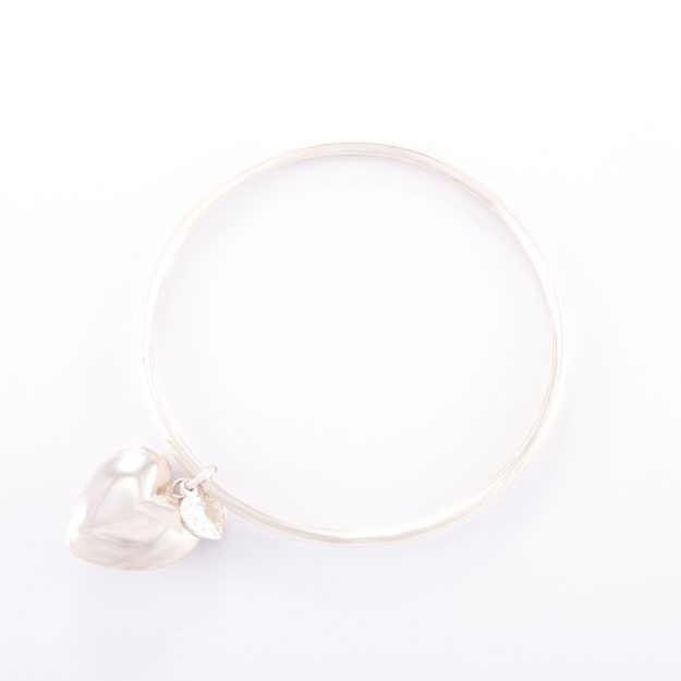 Sterling Silver Bangle and Puffed Heart