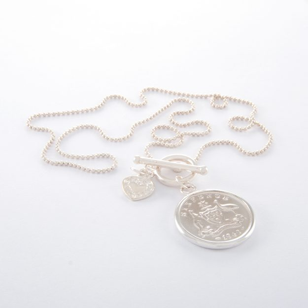 18 Inch Sterling Silver Ball Chain with 1962 Sixpence