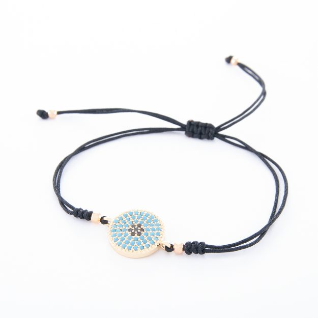 Boho Adjustable Bracelet with Gold Disc and Turquoise Jet Beads
