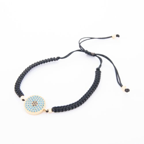 Our Boho Adjustable Plaited Cord Bracelet with Gold Disc and Turquoise Jet Beads. Shown here, with adjustable black strands and a beautiful gold-plated disc. In short, this piece is the perfect gift for someone special. Or as the ideal self-indulgent purchase to add to your own personal jewelry collection.