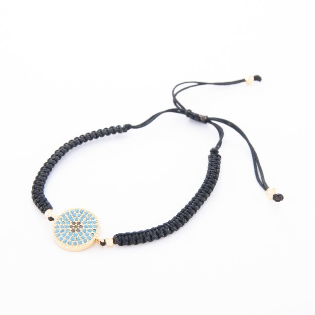Boho Adjustable Plaited Cord Bracelet with Gold Disc and Turquoise Jet Beads