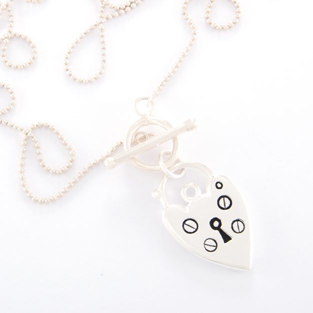 Fine 70cm Sterling Silver Ball Chain and Padlock Heart Necklace