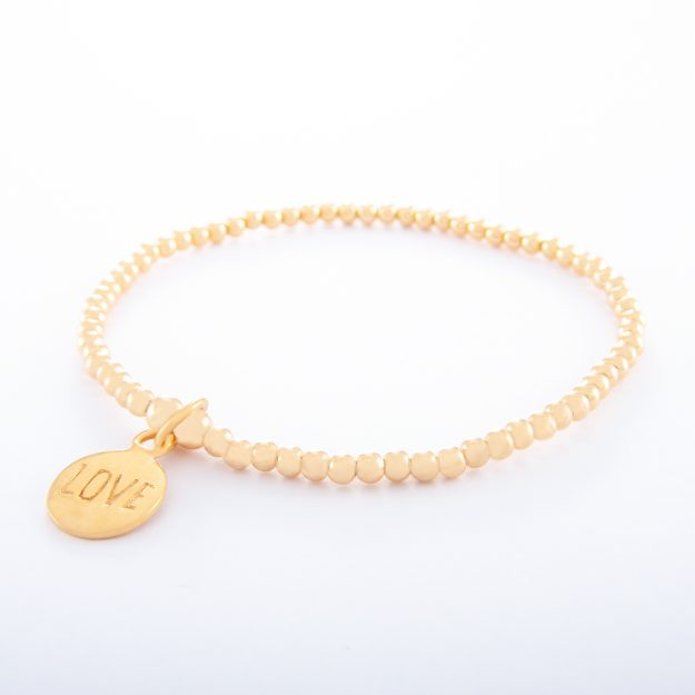 Gold Ball Chain Bracelet and Love Disc