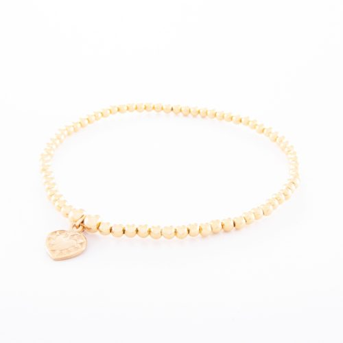 Our Gold Sterling Silver Ball Bracelet and Small Flat Heart. Shown here, beautifully handcrafted in gold over 925 sterling. There's a lot of love in this elegant, stunning piece. In short, it's the perfect self-indulgent purchase to add to your jewelry collection. Or as a unique gift idea for that someone special.