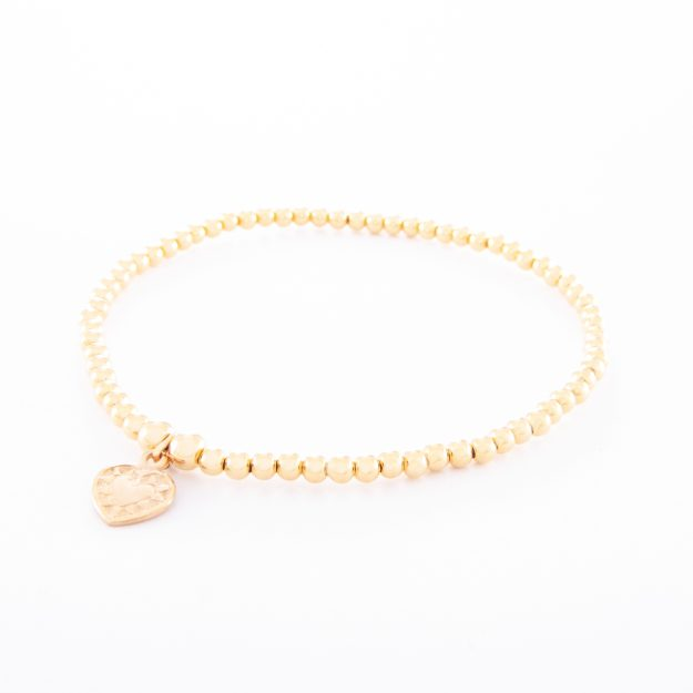 Gold Sterling Silver Ball Bracelet and Small Flat Heart