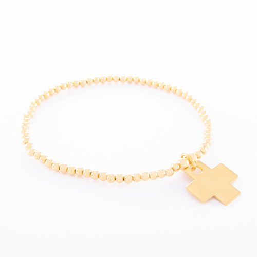 Our Gold Sterling Silver Ball Bracelet with Flat Cross. Shown here, handcrafted in gold plated over 925 sterling. A fun and relaxed piece. In short, it's the ideal gift for someone special. Or as a self-indulgent purchase to add to any jewelry collection.