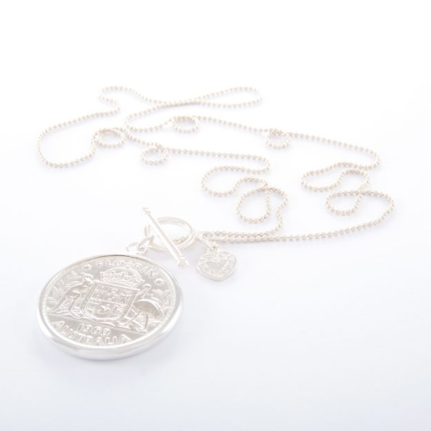 Long Fine Sterling Silver Ball Chain Necklace with 1960 Florin