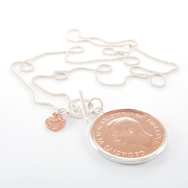 Long Sterling Silver Ball Chain Necklace with Rose Gold 1950 King George Penny