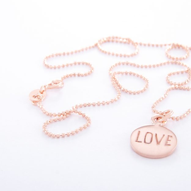 Rose Gold Ball Chain Necklace and Love Disc