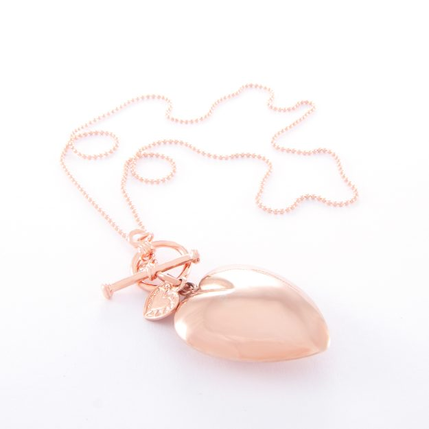 Rose Gold Ball Chain Large Puffed Heart and Small Flat Heart Fob Necklace