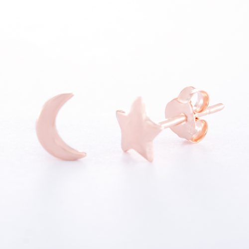 Our Rose Gold Star Moon Stud Earrings. Shown here, handcrafted in beautiful pink gold over 925 sterling. In short, this pair of little gems are full of fun and sure to twinkle and shine. They're the perfect self-indulgent purchase to add to your own jewelry collection. Or as the ideal gift idea for someone very special.