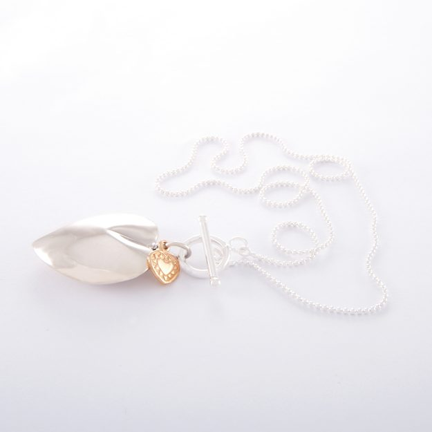 Sterling Silver Ball Chain Necklace with Large Puffed Heart and Small Rose Gold Flat Heart