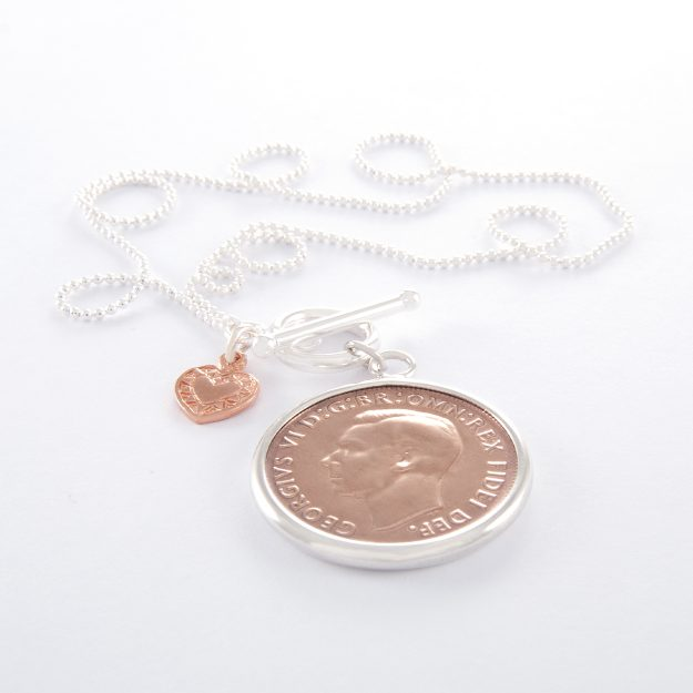 Sterling Silver Ball Chain with Rose Gold 1950 Half Penny