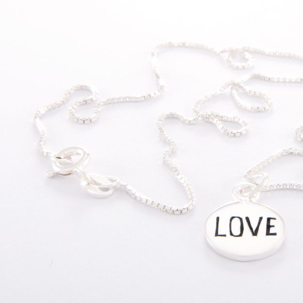 Sterling Silver Box Chain Necklace and Small Love Disc