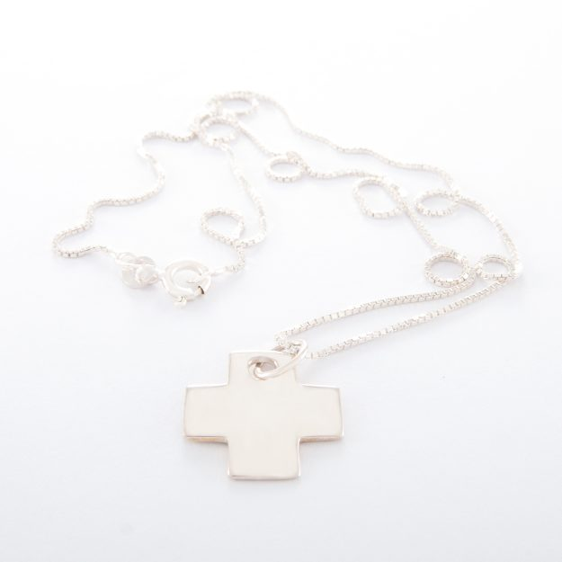 Sterling Silver Box Chain Necklace with Small Flat Cross
