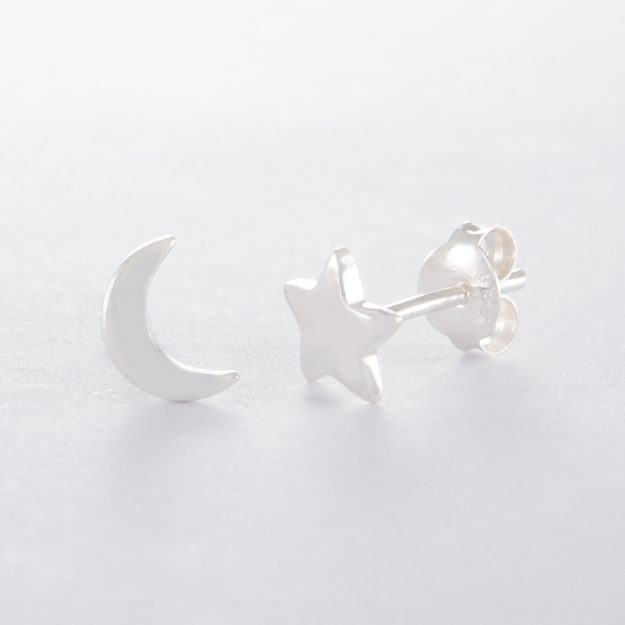 Sterling Silver Star and Moon Stud Earrings