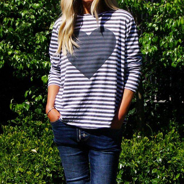 Love Heart Long Sleeve Vintage Grey Stripe T-Shirt