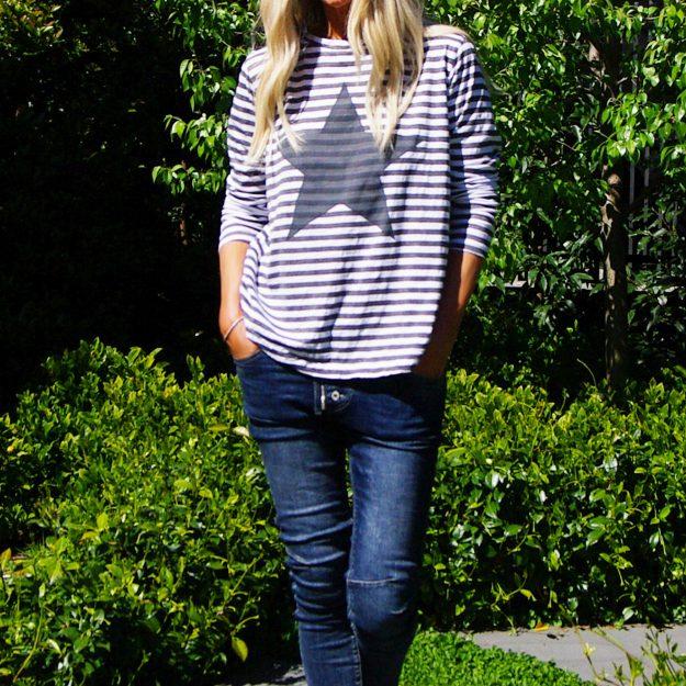 Star Long Sleeve T-Shirt Vintage Grey Stripe
